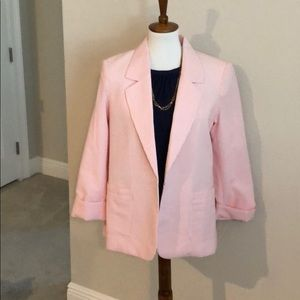 Pink and white striped blazer